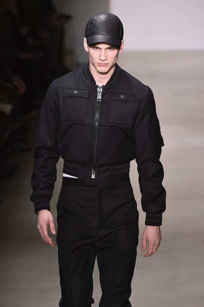A model wears Calvin Klein's bomber jacket-centric autumn/winter 2015 collection