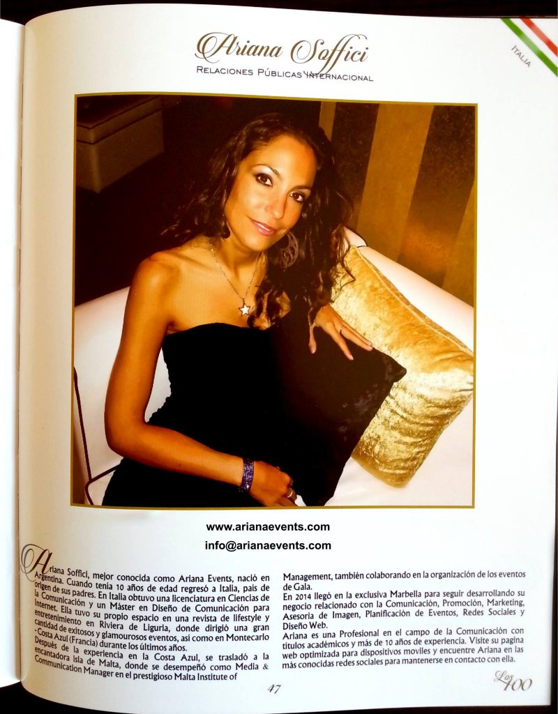 Ariana Soffici International PR on the book of the best 100 entrepreneurs in Marbella www.arianasoffici.com