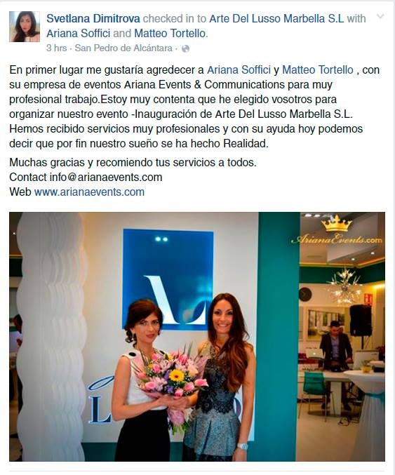 Arte del Lusso thanks Ariana Soffici - Ariana Events & Communications