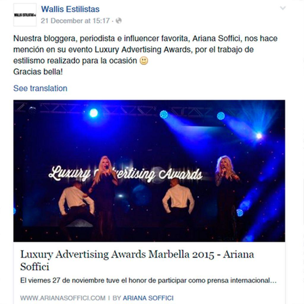 Wallis Estilistas thanks Ariana Soffici Blogger & Influencer