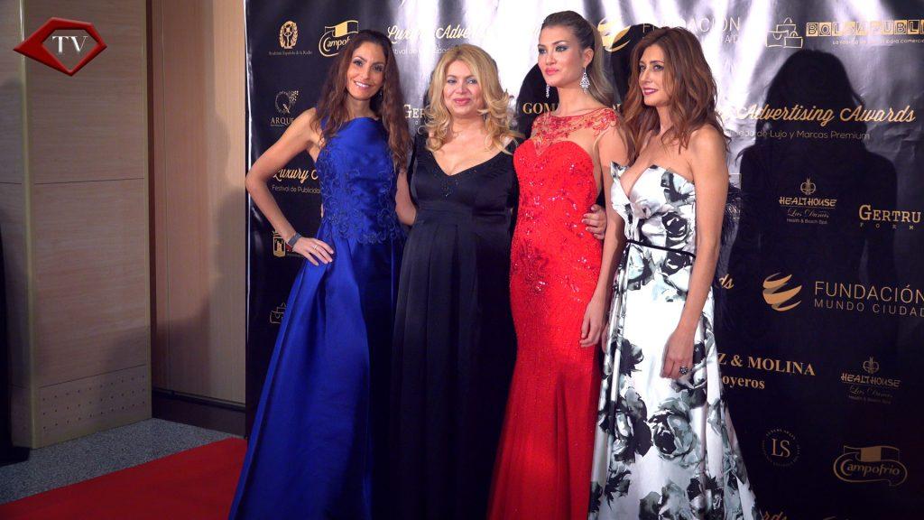 Ariana Soffici with Maria Cansino, Mireia Lalaguna and Patricia Betancort at Luxury Advertising Awards Marbella