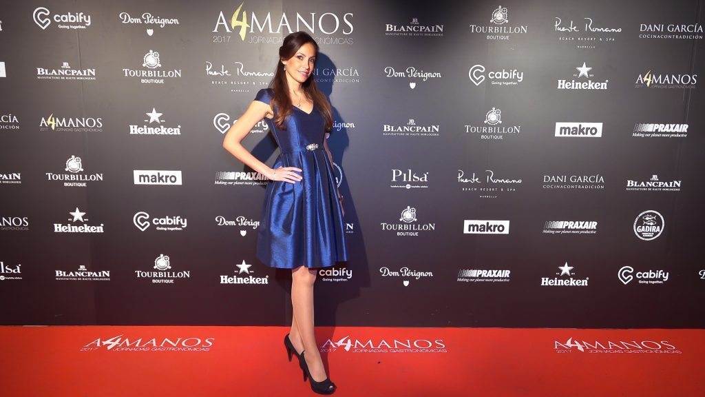 Ariana Soffici wearing a beautiful Sonia Peña dress at Puente Romano Marbella