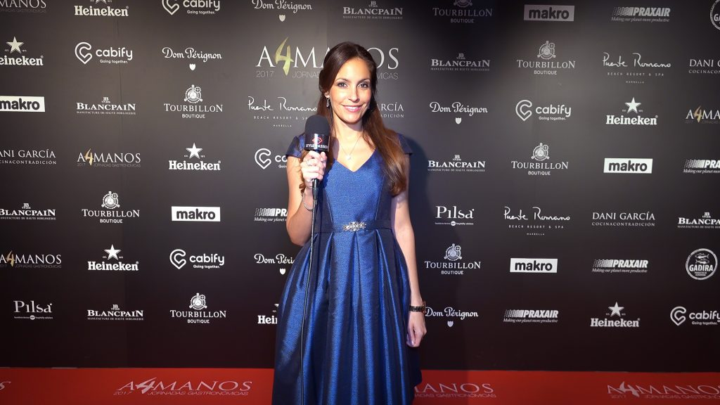 Ariana Soffici tv hostess for Style Passion TV for Dani Garcia Event at Puente Romano Marbella