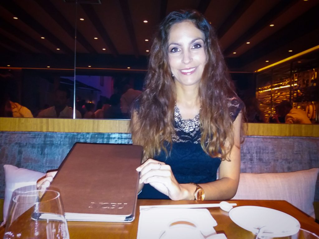 Ariana Soffici with Nobu menu in Marbella