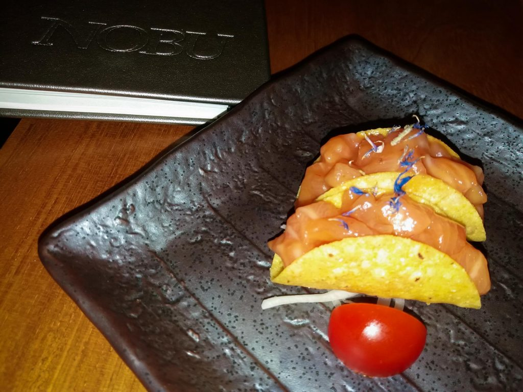 Tacos with salmon Nobu Marbella www.arianasoffici.com