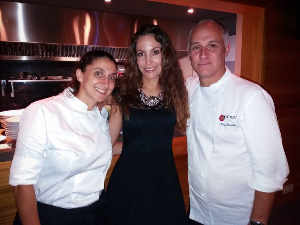 Chefs Eleni Manousou and Hervé Courtot with Ariana Soffici at Nobu Marbella www.arianasoffici.com